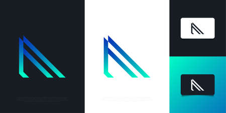 Modern and Abstract Letter F Design Template in Blue and Green Gradient. Graphic Alphabet Symbol for Corporate Business Identity