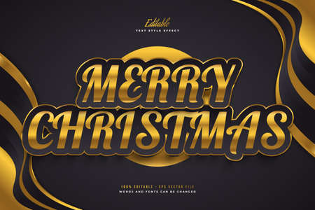 Merry Christmas Text in Luxury Black and Gold Style. Editable Text Style Effect