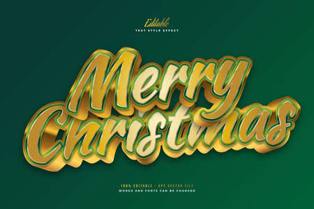 Elegant Merry Christmas Text in Green and Gold Style with 3D Effect. Editable Text Style Effect Ilustração