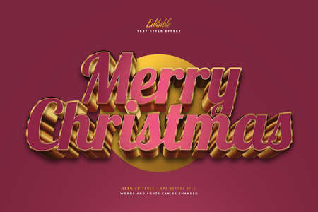 Luxury Merry Christmas Text in Red and Gold Style with 3D Effect. Editable Text Style Effect