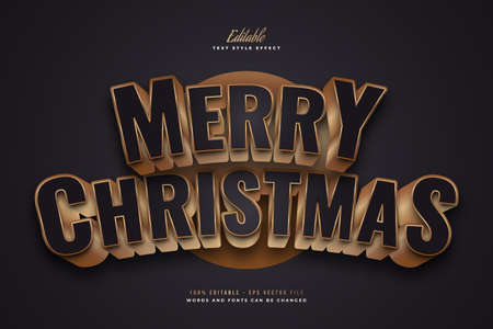 Elegant Merry Christmas Text in Black and Gold Style with 3D and Curved Effect. Editable Text Style Effect Ilustração
