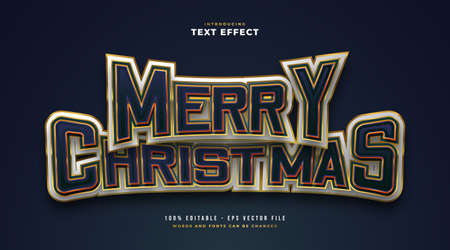 Merry Christmas Text in E-sport Style with Embossed Effect. Editable Text Style Effect