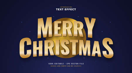 Merry Christmas in Golden Style Text with 3D and Glitter Effect. Editable Text Style Effect Ilustração
