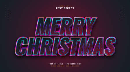 Elegant Merry Christmas Text in Red and Blue Style with Sparkling Effect. Editable Text Style Effect