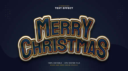 Colorful and Elegant Merry Christmas Text with Cartoon Style. Editable Text Style Effect Ilustração