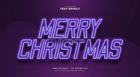 Elegant Merry Christmas Text with Glowing Purple Neon Effect. Editable Text Style Effect