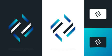 Modern and Abstract Initial Letter F and F Design with Recycling Concept. FF  Design Template