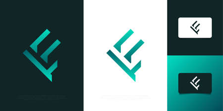 Modern and Futuristic Letter F Design in Green Gradient with Abstract Concept. Initial Letter F