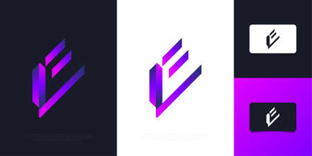 Modern and Abstract Letter E Design in Purple Gradient. Initial Letter E
