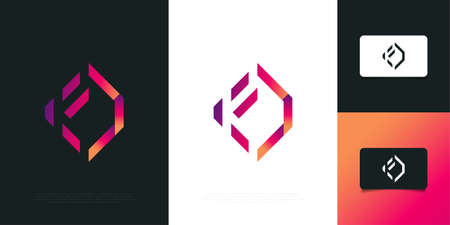 Modern and Abstract Letter F Logo Design in Colorful Gradient in Papercut Style. Graphic Alphabet Symbol for Corporate Business Identity Ilustração