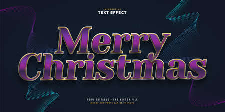 Elegant Merry Christmas Text in Purple and Gold with Glitter and Glossy Effect. Editable Text Style Effect