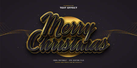 Luxury Merry Christmas Text in Black and Gold Style with 3D and Sparkling Effect. Editable Text Style Effect