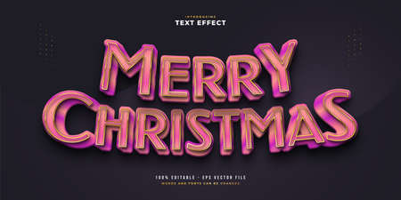 Merry Christmas Text in Luxury Pink and Gold with 3D Effect. Editable Text Style Effect