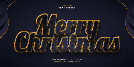 Elegant Merry Christmas Text in Blue and Gold Style with 3D and Glossy Effect. Editable Text Style Effect