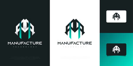 Abstract and Modern Real Estate Logo Design with Letter M and Futuristic Concept