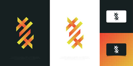 Modern and Abstract Initial Letter H and H Logo Design Template. HH Logo Design Ilustração