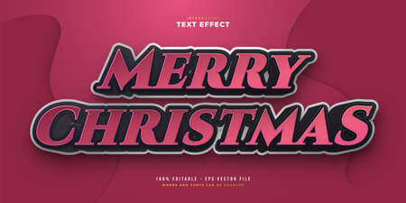 Merry Christmas Text in Black and Red with Cartoon Style. Editable Text Style Effect