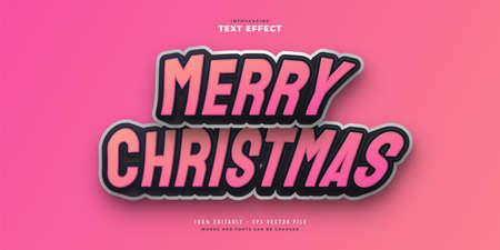 Merry Christmas Text in Black and Pink with Cartoon Style. Editable Text Style Effect