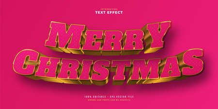 Luxury Merry Christmas Text in Pink and Gold Style with Glitter and 3D Effect. Editable Text Style Effect