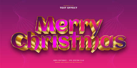 Merry Christmas Text in Colorful and Gold Style with 3D Effect. Editable Text Style Effect Ilustração