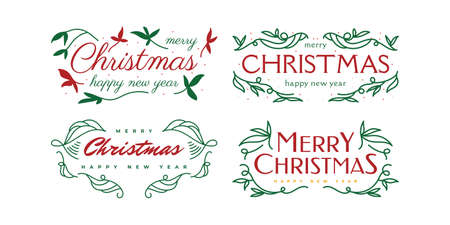 Merry Christmas and Happy New Year Lettering Design for Card, Banner or Poster. Merry Christmas Typography Set