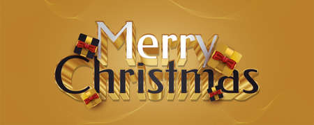 Merry Christmas Greeting with Luxury 3D Lettering and Elegant Gift Box in Black and Gold