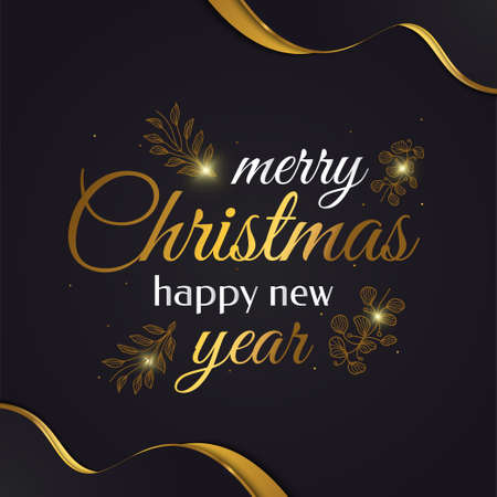 Merry Christmas and Happy New Year Banner or Poster with Golden Flowers. Elegant Christmas Greeting card in Black and Gold Ilustração