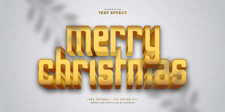 Merry Christmas Text in Bold Golden Style with Glitter and 3D Effect. Editable Text Style Effect