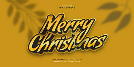 Black and Yellow Merry Christmas Text in Cartoon Style. Editable Text Style Effect