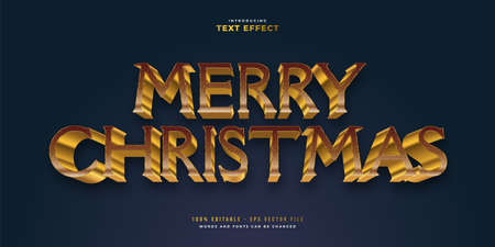 Elegant Merry Christmas Text in Golden Style with 3D and Textured Effect. Editable Text Style Effect