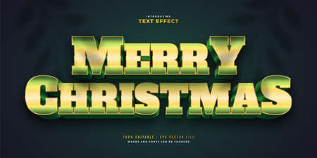 Merry Christmas Text in Bold Green Style with 3D Effect. Editable Text Style Effect Ilustração