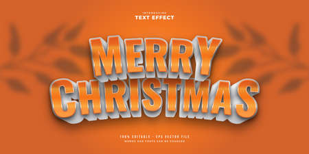 Merry Christmas Text in White and Orange Style with 3D Effect. Editable Text Style Effect