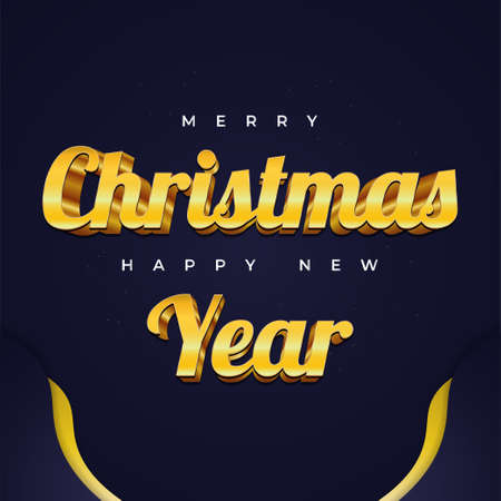 Merry Christmas and Happy New Year Greeting Card with Blue and Gold 3D Letters. Christmas Banner or Poster Ilustração