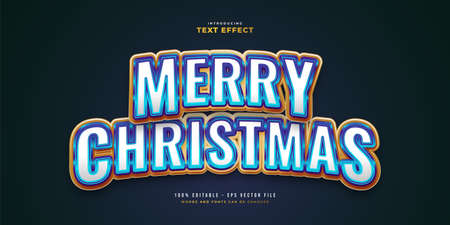 Elegant Merry Christmas Text in White, Blue and Gold Style with Glossy Effect. Editable Text Style Effect