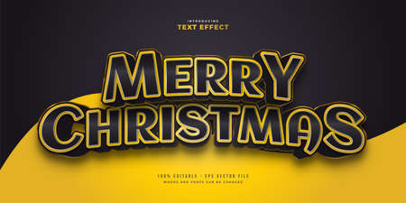 Elegant Merry Christmas Text in Black and Yellow Style with 3D Effect. Editable Text Style Effect Ilustração