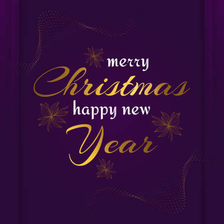 Elegant Merry Christmas and Happy New Year Greeting Card. Christmas Poster or Banner with Golden Flowers