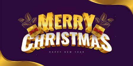 Merry Christmas and Happy New Year Banner or Poster with 3D Text and Gift Boxes on Gold and Purple Background