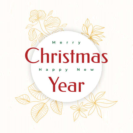 Merry Christmas and Happy New Year Greeting Card. Christmas Poster or Banner with Flowers Element Ilustração