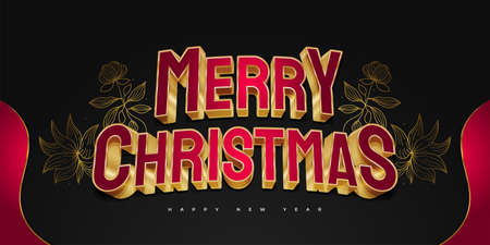 Merry Christmas and New Year Banner or Poster with Red and Gold 3D Text and Elegant Floral Illustration