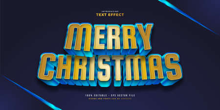 Bold Modern Blue and Gold Text Style with 3D Effect. Editable Text Style Effect Ilustração
