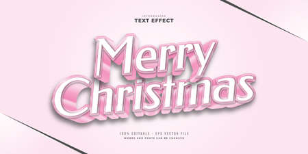 Cute Pink Text Style with 3D Effect. Editable Text Style Effect Ilustração
