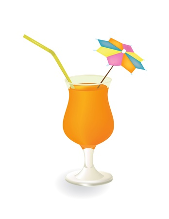 A glass of juice with a cocktail with an umbrella Vector Graphics Stock Vector - 10684463