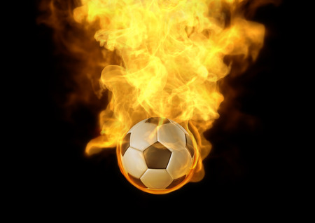 eye catching: Eye catching you layout with fire burn on soccer ball, It Stock Photo