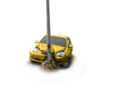 electricity post: Yellow car crash with the electricity post on white background. Stock Photo