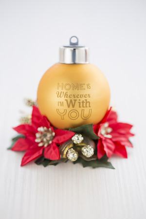 wherever: New Year Christmas Gold Red Decoration, Home is Wherever Im with You Stock Photo
