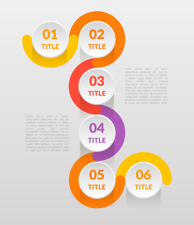 Six Steps graphic information can illustrate a strategy, workflow or team work, vector flat color.