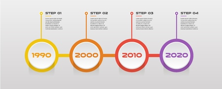 Horizontal steps timeline infographics - can illustrate a strategy, workflow or team work, vector flat color