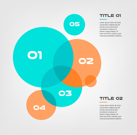 Bubble chart with elements venn diagram infographics for three circle design vector and marketing can be used for workflow layout, annual report, web design. Business concept with steps or processes