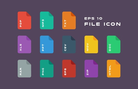 Set of Document Labels and File Formats Icons.