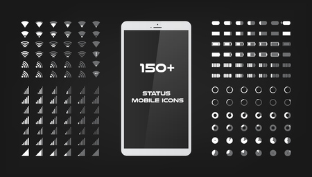 About 150 interface icons. Mobile battery power charger, wireless signal and connection level sing set. The round shape with the filled and empty risks For mobile applications web and desktop.